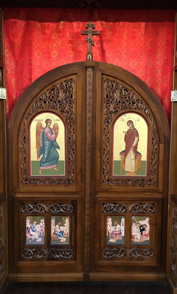 At the center of the iconostasis are the \u201cRoyal Doors\u201d upon which are icons of the Archangel Gabriel and the Virgin Mary depicting the Annunciation or \u201c ... & St. Symeon Orthodox Church - The Iconostasis